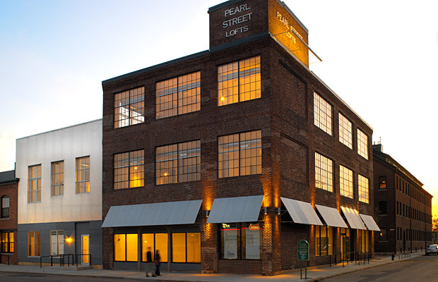Pearl Street Lofts at dusk